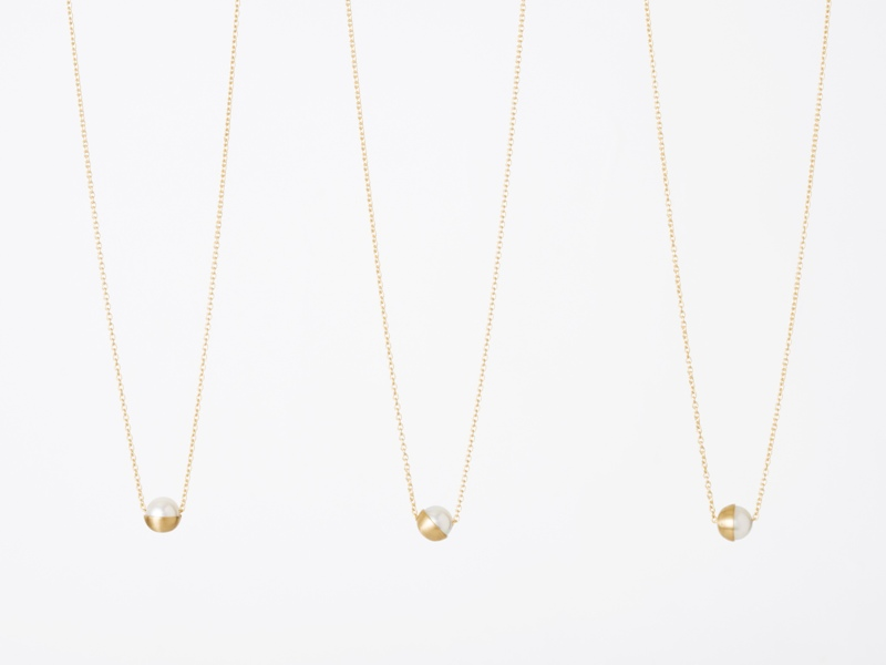 half pearl chain necklace 45° / shihara